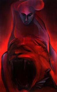 "Moon #13 Painting: ""Strength"" by Larissa Tokmakova"