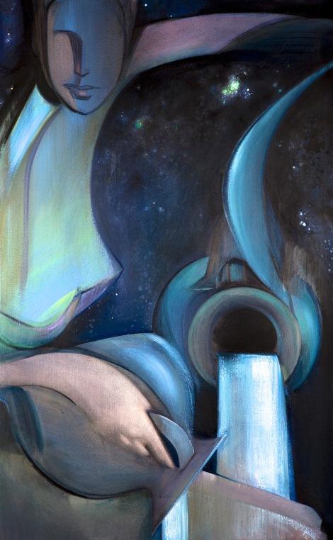 """Moon #24 Painting: """"The Star"""" by Larissa Tokmakova"""