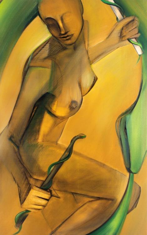 """Moon #28 Painting: """"The World"""" by Larissa Tokmakova"""