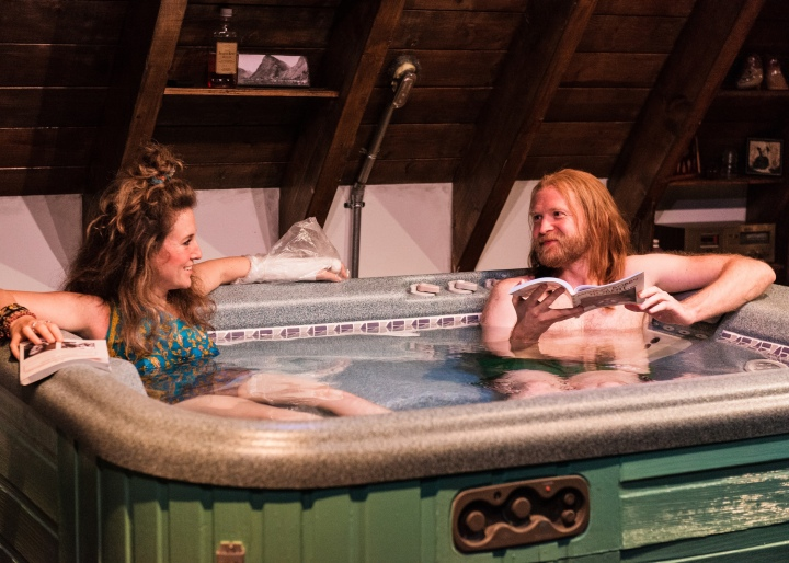Pictured L-R: Hannah Bos and Paul Thureen in Jacuzzi, by The Debate Society. This Ars Nova production plays a limited Off-Broadway engagement through November 1 (Ars Nova, 511 West 54th Street). PHOTO CREDIT: Ben Arons.