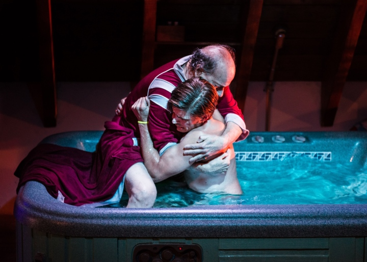Pictured L-R: Peter Friedman and Chris Lowell in Jacuzzi, by The Debate Society. This Ars Nova production plays a limited Off-Broadway engagement through November 1 (Ars Nova, 511 West 54th Street). PHOTO CREDIT: Ben Arons.