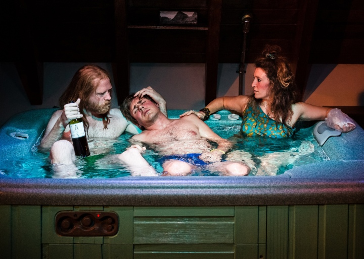 Pictured L-R: Paul Thureen, Chris Lowell, Hannah Bos in Jacuzzi, by The Debate Society. This Ars Nova production plays a limited Off-Broadway engagement through November 1 (Ars Nova, 511 West 54th Street). PHOTO CREDIT: Ben Arons.