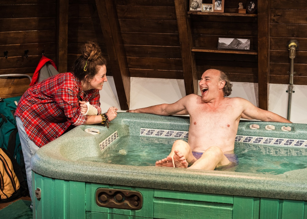 Pictured L-R: Hannah Bos and Peter Friedman in Jacuzzi, by The Debate Society. This Ars Nova production plays a limited Off-Broadway engagement through November 1 (Ars Nova, 511 West 54th Street). PHOTO CREDIT: Ben Arons.